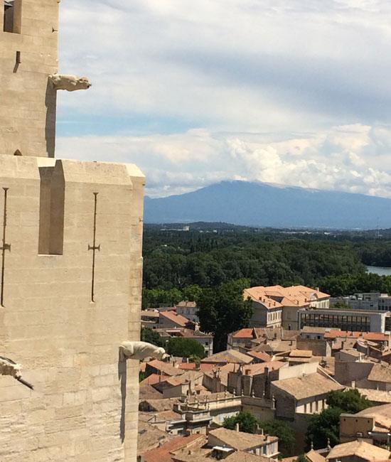 Vue sur le Ventoux depuis la terrasse du Palais des Papes